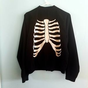 Hot Topic black skeleton zipper bomber jacket XL